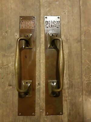 Vintage pair of reclaimed Push Brass Door Handles Shop Pulls Antique Old