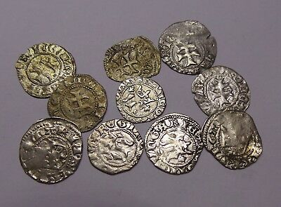 European Medieval Silver Coins Mary Queen of Hungary (1382-1395) LOT - 10 pieces