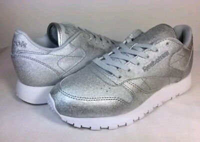 New Ladies Womens Reebok Classic Casual Silver Glitter Trainers BD5757 UK Size 6