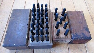 "Vintage Sears Roebuck 1/8"" Steel Letter and Number Stamp Punch Sets Wood Cases"