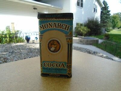 "Antique ""monarch"" 16 Oz.  Cocoa Metal Tin..very Old & Very Nice.."