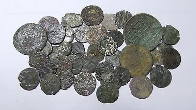 European Medieval Copper and Silvered Coins (1235-1711) LOT - 40 pieces SEE PICS