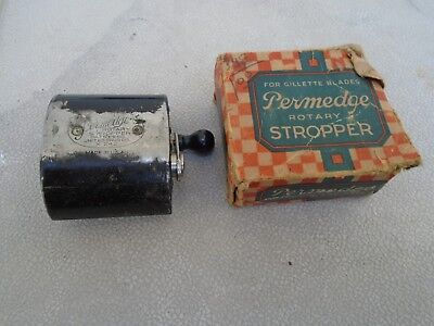 Vintage Early 20Th Century Permedge Safety Razor Stropper with Box