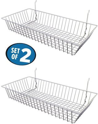 "White Wire Baskets for Slatwall, Gridwall or Pegboard (Set of 2) 24""Lx12""Dx4""H"