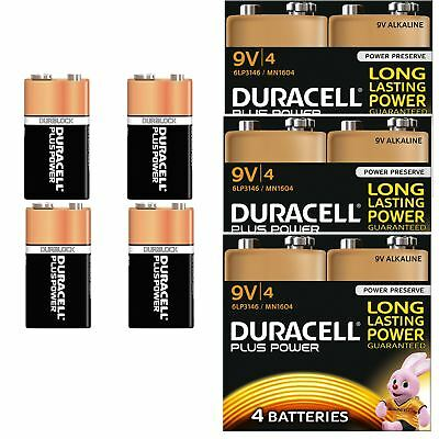 12 x Duracell Plus Power 9V PP3 Batteries Duralock Smoke Alarm LR22 MN1604 6LR61