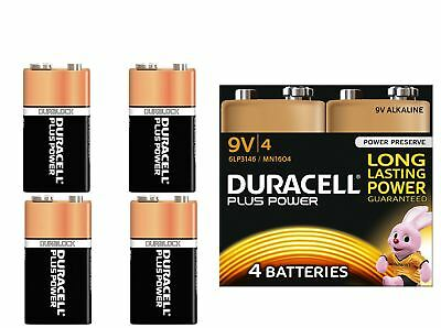4 x Duracell Plus Power 9V PP3 Batteries For Smoke Alarms LR22 MN1604 6LR61