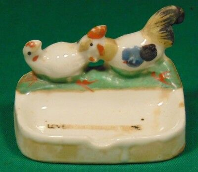 """Antique """"LOVER COME BACK TO ME"""" Chicken Porcelain Ring Soap Dish Ash Tray Japan"""