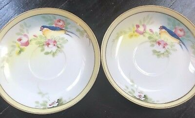 Vintage Nippon Porcelain Tea Cup Saucers Rare Blue Bird Floral China Set Of 2