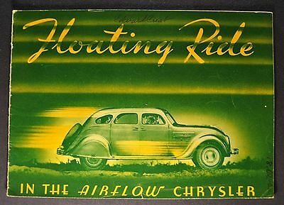 1934 Chrysler Airflow Catalog Sales Brochure Floating Ride Nice Original 34
