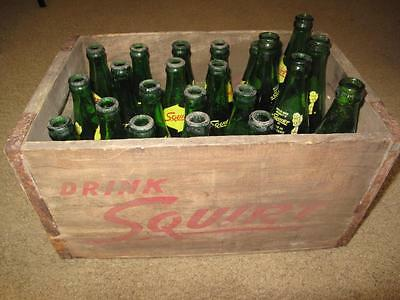 Old Vtg 1958 Squirt Soda Pop Wood Carrier 22 Glass Bottles Crate Box Advertising