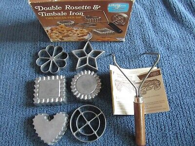 Rosette and Timbale Iron, Christmas,6 forms, double handle, box, booklet, heart