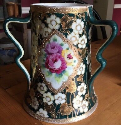 Antique Hand Painted Floral Vase Gold Three Handled England Austria?rose
