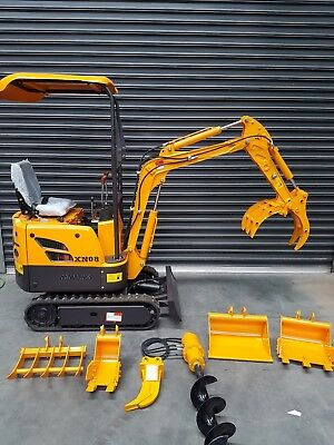 Mini Excavator .8 Ton (1600lbs) 11.8 hp *Brand New* with 7 Attachments