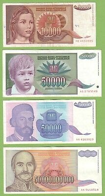 Yugoslavia - Lot - 4 banknotes - 1992-1993 - VG/VF Paper Money Currency