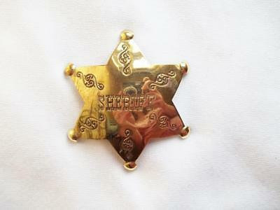 Solid Brass Six Point Star Sheriff Badge Pin Pinback Western Old West Lawman