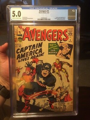 The Avengers #4 (Mar 1964, Marvel) CGC 5.0 First Silver Age Captain America!