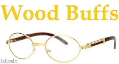 New Oval Wood Buffs clear glasses Oval UV400 Lenses Gold frame RICH
