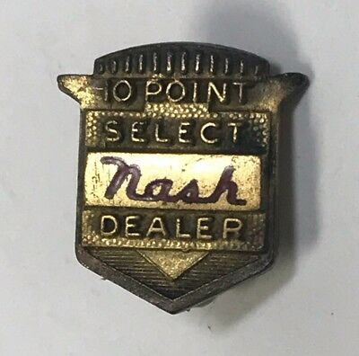 Old NASH Automobile Car 10 Point Select DEALER Screwback Pin Gold Filled OHIO