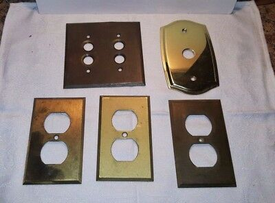 Mixed Lot of 5  Brass Push Button Light Switch Plates Outlet Plates