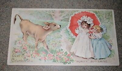Old Advertising Premium Card Capital City Dairy Co Columbus Oh Purity Butterine!