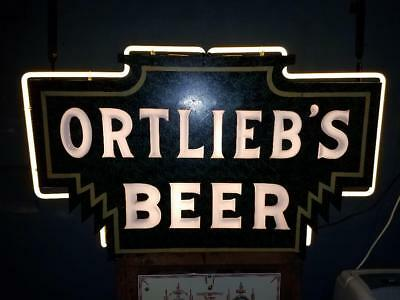 RARE Ortlieb's beer milkglass neon early sign