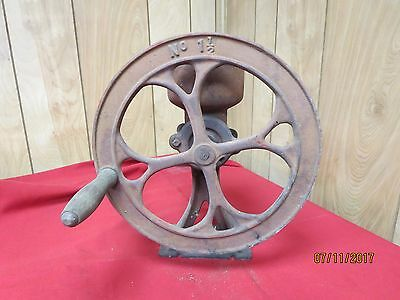 Antique primitive Cast Iron No. 1 1/2  single wheel coffee grinder food mill
