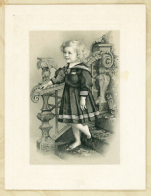 Antique 1800s Victorian Folding Christmas Card Beautiful Barefoot Girl on Stairs