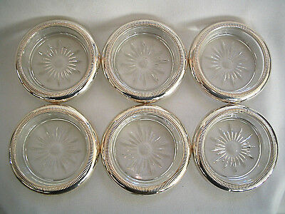 Set of 6 Crown Vintage Sterling Silver and Glass Coasters, New, Never used !