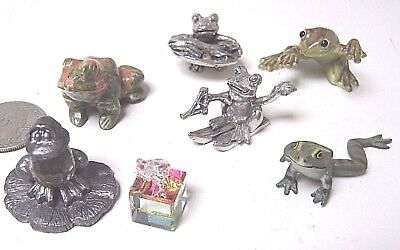 Lot of 7 Collection of Frog Frogs Figurines - Crystal Pewter Porcelain