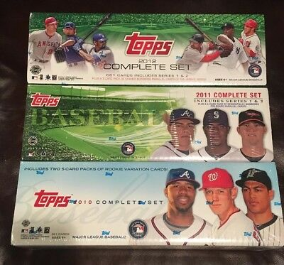 Lot of 3 Topps Baseball Complete Factory Sealed Set s 2010 2011 2012 - All HTA