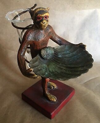 Vintage Cold Painted Cast Iron Monkey Statue Brass Shell Tray Glass Vase Epergne