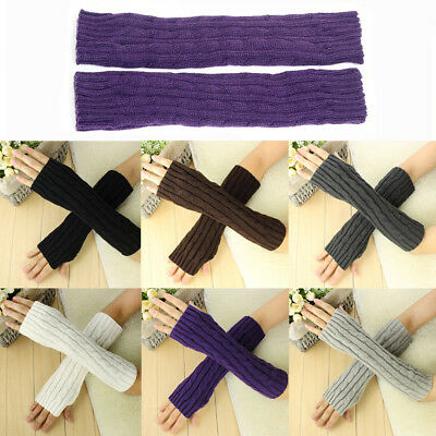 Winter Women Stretchy Knitted Arm Warmers Long Mitten Soft Fingerless Gloves