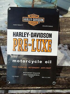 Vintage Harley Davidson Pre Luxe Motorcycle Oil Porcelain Sign Milwaukee Usa