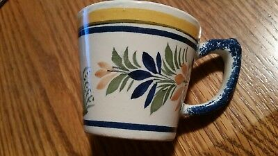 Antique Signed Henriot Quimper France 968 Small Cup with Breton Woman