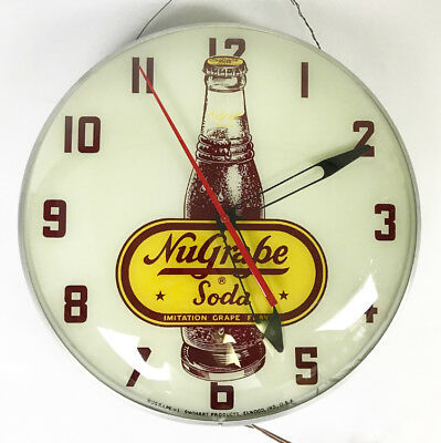 Vintage 1940's Nugrape Soda Telechron Lighted Advertising Clock Working