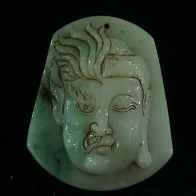 Chinese Exquisite Hand-carved Buddha and demons carving Jadeite jade Pendant