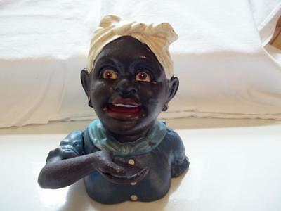 Cast Iron Black Americana Lady Kerchief Mechanical Bank Coin Bank Aunt Jemima