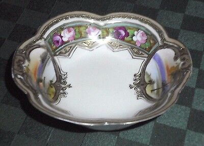 Antique Nippon China Hand Painted Gold Trim Floral Lake Dish Bowl **