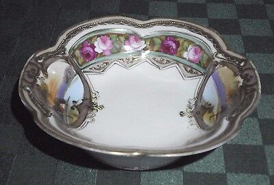 Antique Nippon China Hand Painted Gold Trim Floral Lake Dish Bowl *