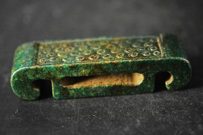 Unique Chinese Old Jade carved Retro style pattern Belt Buckle A19