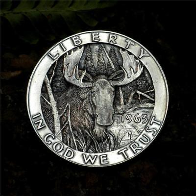 Original Hobo Nickel Franklin Silver Half Dollar Moose Howard Thomas OOAK