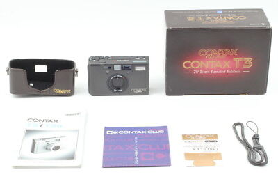 """[TOP MINT in Box] Contax T3 70th Year Titan Black """"Double Teeth"""" from Japan #455"""