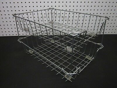 LOT of 2 Vintage Industrial Metal Wire In-Out Letter Size Desk Tray Baskets SN