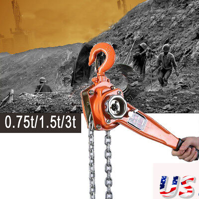 0.75/1.5/3 Ton Lever Cranes Block Heavy Hoist Lift Ratchet Chain Come Along US