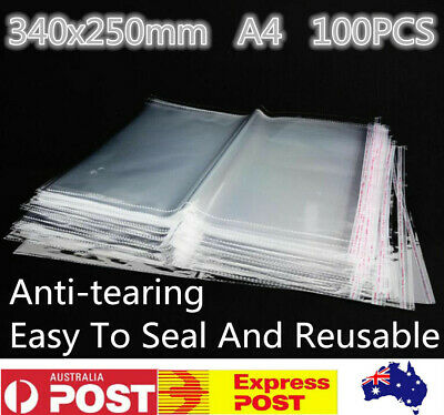 100 X  A4 Clear Self Seal Adhesive Cello Cellophane Resealable Plastic Bags
