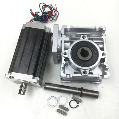Stepper Motor Nema23 L112mm 3Nm+Worm Gearbox 60:1 Speed Reducer CNC Router Kit