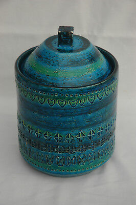 Vintage Large Bitossi Aldo Londi Rimini Blue Storage Jar with Lid Pottery Italy