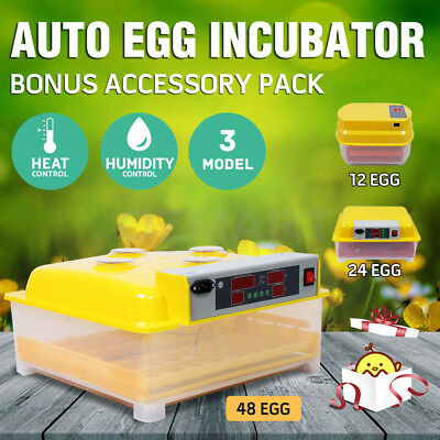 12/24/48 Eggs Digital Automatic Incubator LED Display Chicken Duck Poultry Goose