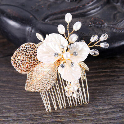 Wedding Bridal Fashion Crystal Pearl Hair Accessory Gold Leaf Style Hair Comb