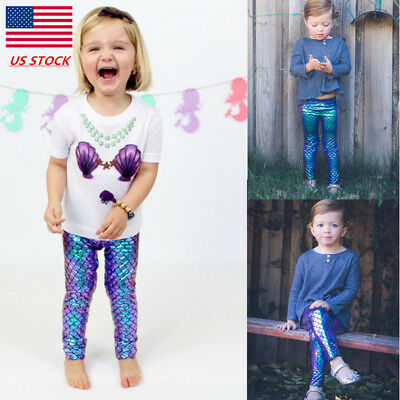 Kids Girls Mermaid Skinny Leggings Casual Stretchy Party Glitter Pants Trousers